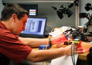 A machine vision integrator runs inspection tests in EPIC's machine vision lab